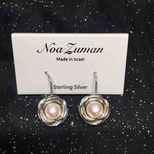 NWT Noa Suman Sterling Silver Floral Pearl Earring